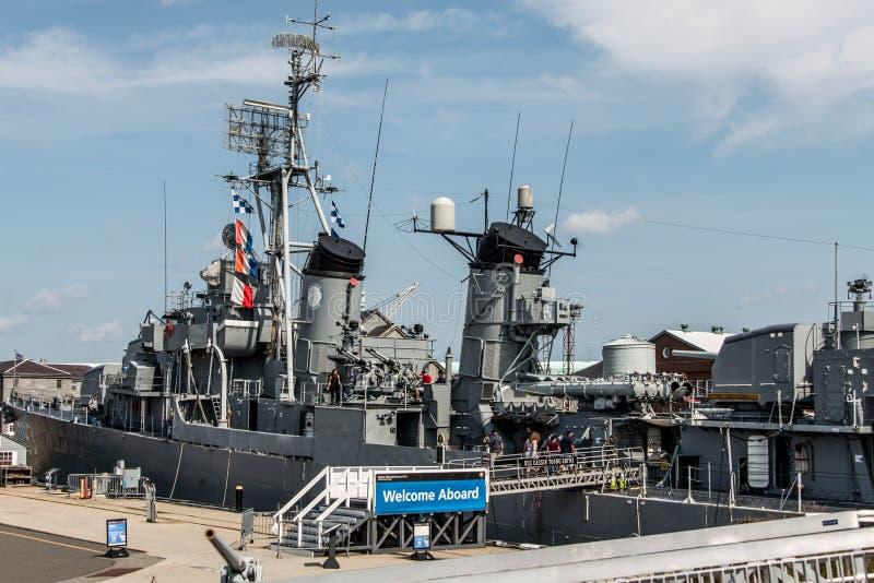 Boston Massachusetts los E.E.U.U. 06 09 2017- Hito histórico joven del nacional del destructor de la clase de USS Cassin Fletcher fotos de archivo libres de regalías