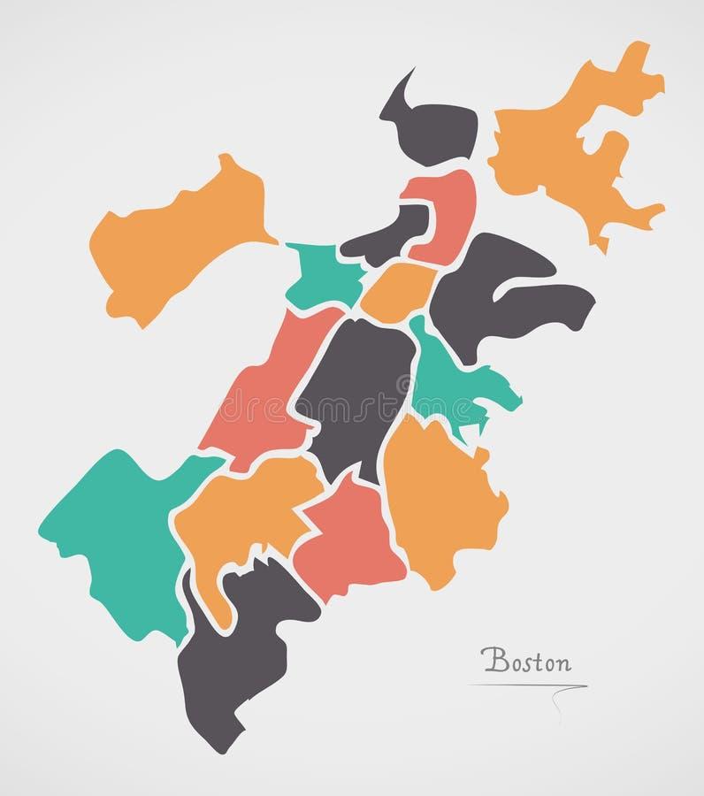 Boston Massachusetts Map with neighborhoods and modern round shapes. Illustration stock illustration
