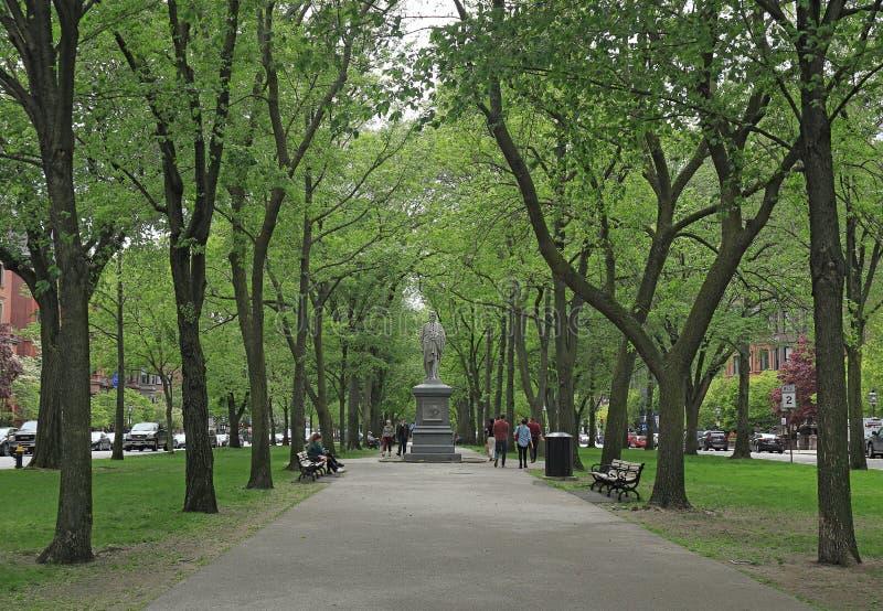 Boston, Massachusetts. Alexander Hamilton Monument along the Commonwealth Avenue Mall stock images