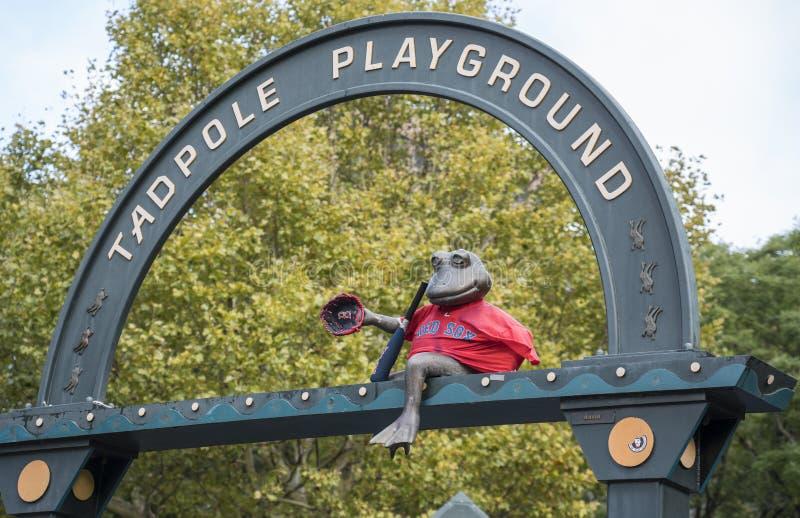 Boston, Massachusetts - October 25, 2018 - Bronze frog overlooks Tadpole Playground. Boston, Massachusetts - October 25, 2018 - Bronze frog overlooks Tadpole stock photos