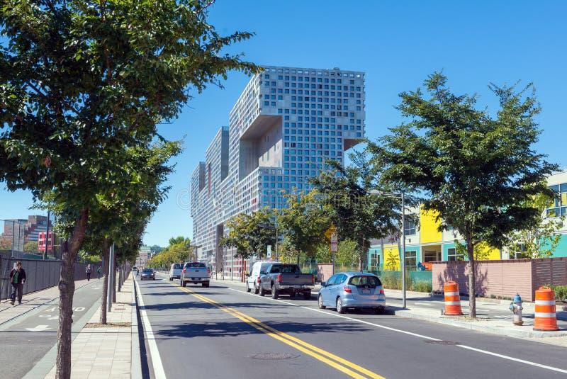 BOSTON, MASSACHUSETTS - SEPTEMBER 23, 2013: street view of Simmo royalty free stock photography