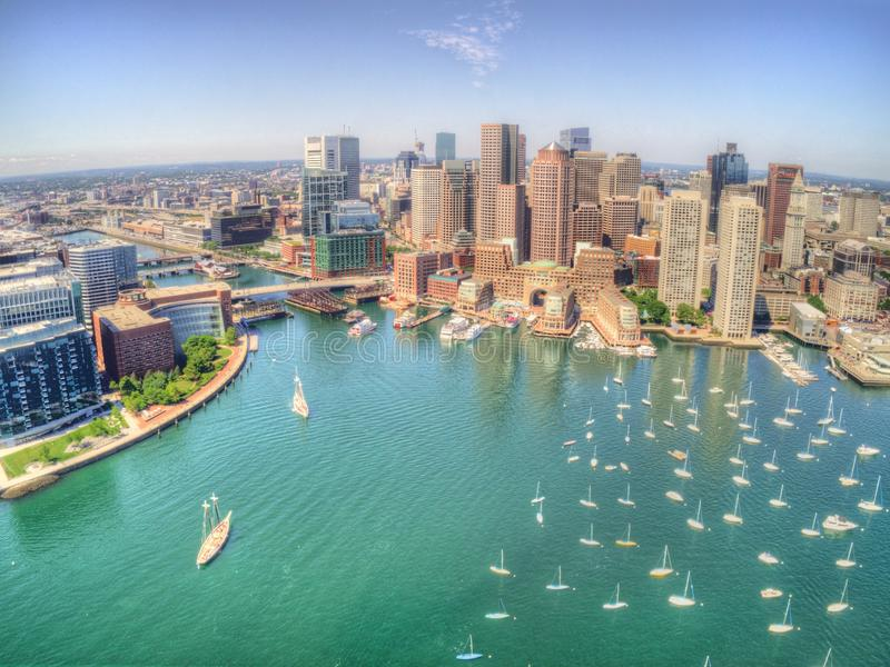 Boston, Massachusetts Skyline from above by Drone during Summer. Time stock images