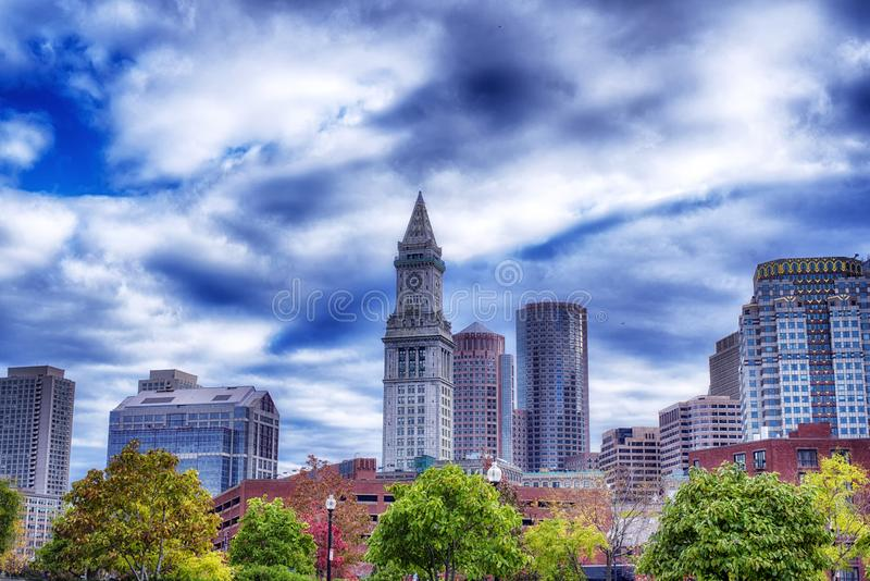 Boston Massachusetts Skyline cloudy day royalty free stock images