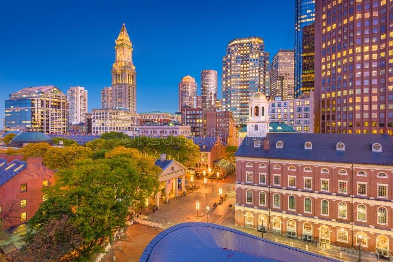 Boston, Massachusetts, USA Cityscape. Boston, Massachusetts, USA downtown markets and cityscape at twilight stock image