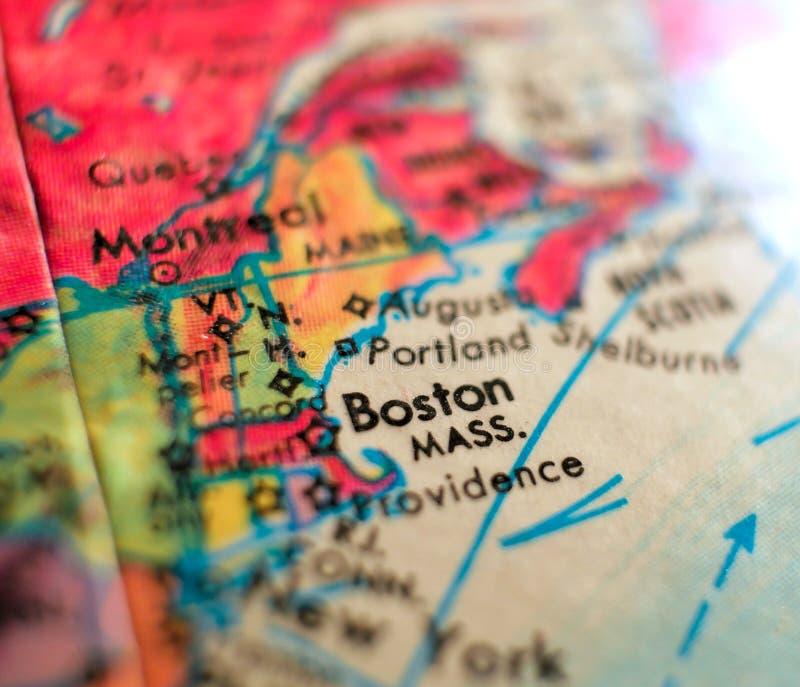 Boston Massachusetts USA focus macro shot on globe map for travel blogs, social media, web banners and backgrounds. stock photos
