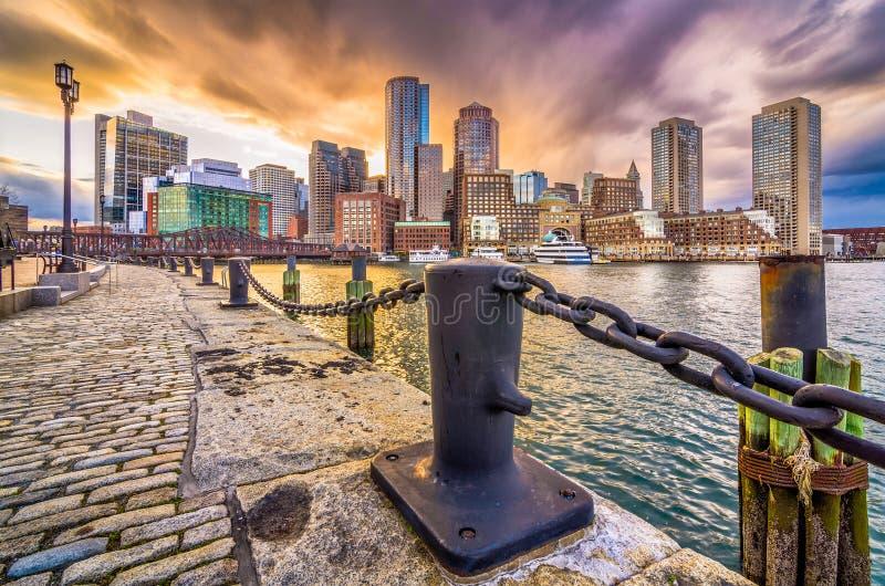 Boston, Massachusetts, USA hamn och horisont royaltyfri foto