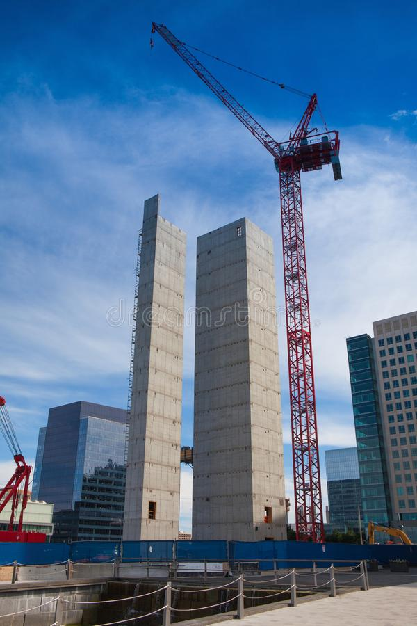 Morning view of construction along South Boston waterfront royalty free stock image