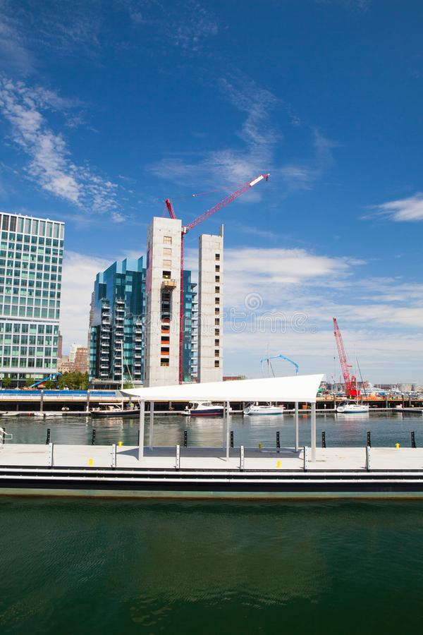 Morning view of construction along South Boston waterfront royalty free stock photography