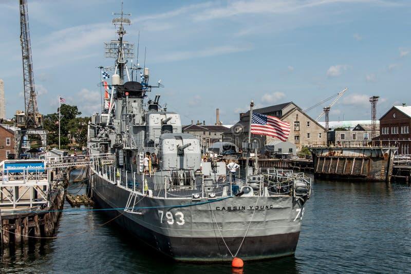 Boston Massachusetts USA 06 09 2017- Nationell historisk gränsmärke USS Cassin för ung Fletcher gruppjagare arkivfoton