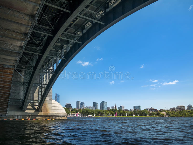 Boston in Massachusetts, USA. The skyline of Boston in Massachusetts, USA in the summer with its mix of contemporary and historic architecture royalty free stock photos