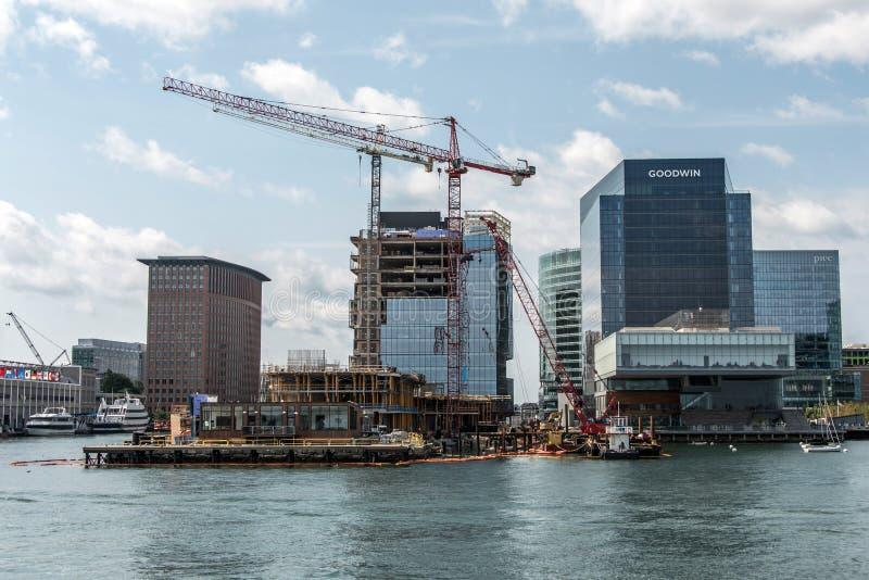 04.09.2017 Boston Massachusetts USA waterfront view skyline new skyscraper construction near waterfront bay stock images