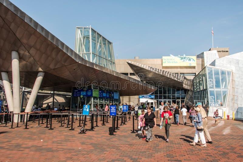 Boston Massachusetts usa 06 09 2017 wejście Nowa Anglia akwarium w Boston obrazy stock