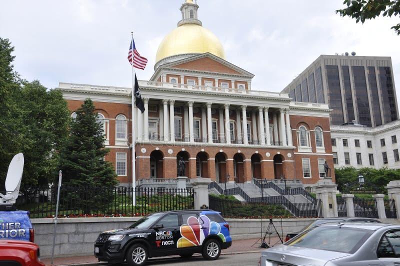 Boston miliampère, o 30 de junho: Casa do estado de Massachusettes de Boston nos EUA fotos de stock