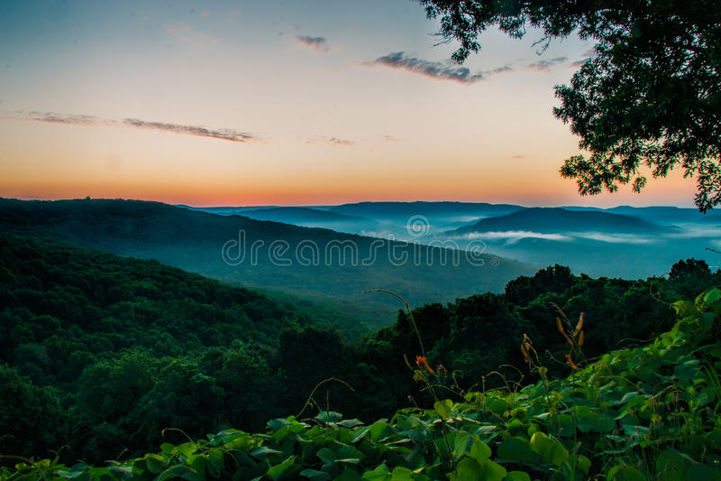 Boston Mountain Range. Of the Ozark Mountains at Artist`s Point near Winslow, Arkansas royalty free stock photography