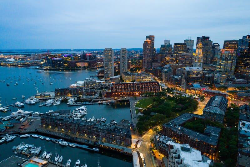 Boston nabrzeże przy nocą fotografia royalty free