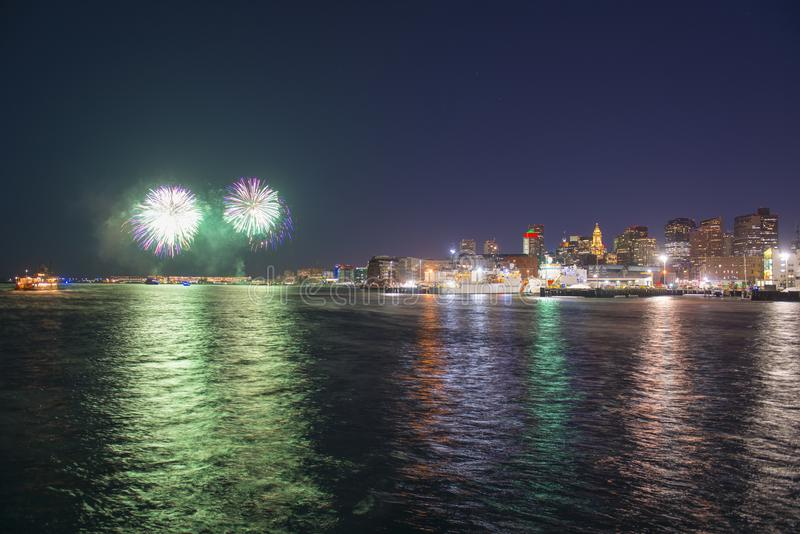 Boston 2018 New Year Eve Fireworks, USA royalty free stock photo