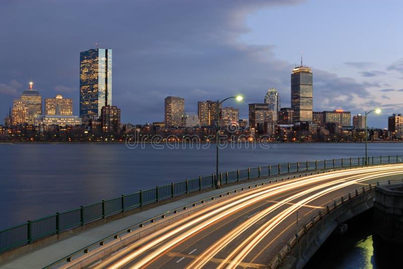 Boston at night from Cambridge stock image