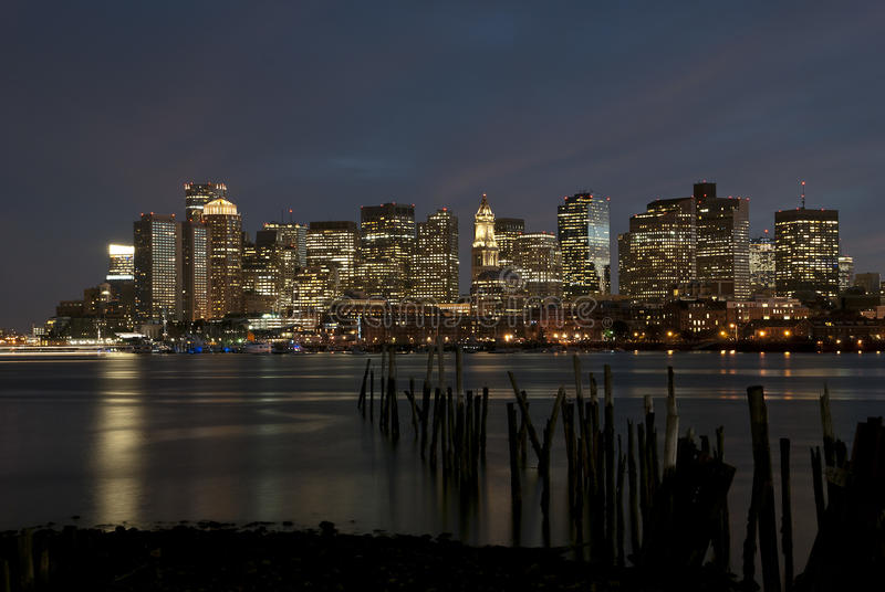 Boston night skyline. Night city skyline of Boston, Massachussetts stock images