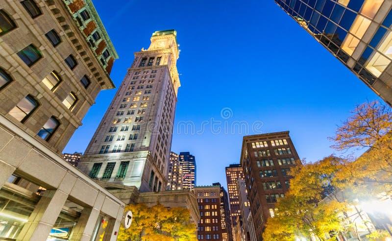 Boston night skyline. Lights of city buildings.  stock images