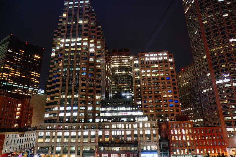 Boston night view stock photos