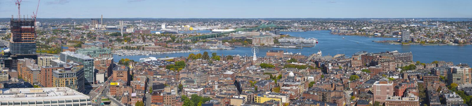 Boston North End and Waterfront, Massachusetts, USA. Boston North End and harbor waterfront aerial view panorama, Boston, Massachusetts, MA, USA royalty free stock photography