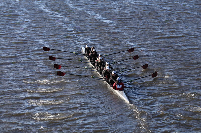 BOSTON - OCTOBER 23, 2016: Tufts University races in the Head of Charles Regatta Women's Collegiate EightsWesleyan. Wesleyan University races in the Head of royalty free stock photography