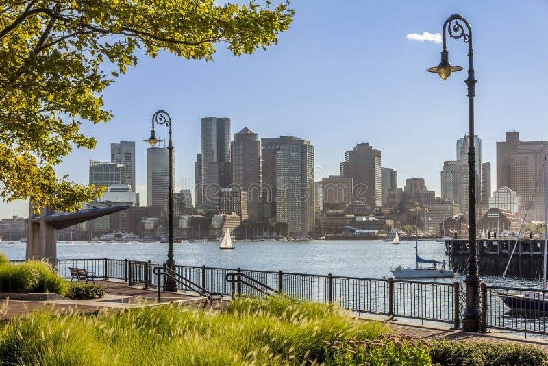 boston område i stadens centrum finansiella massachusetts USA royaltyfri foto