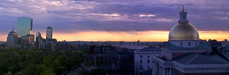boston panoramasuset arkivfoton