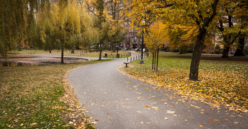 Boston Public Garde. View of the Boston Public Garden in Massachusetts, USA during the fall season royalty free stock photography