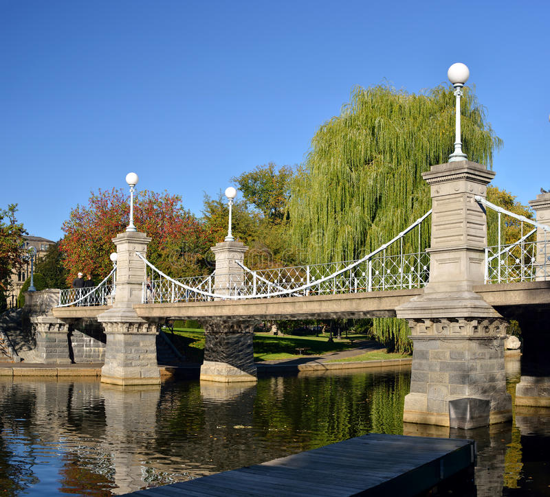 Boston Public Garden. Bridge in early fall royalty free stock images