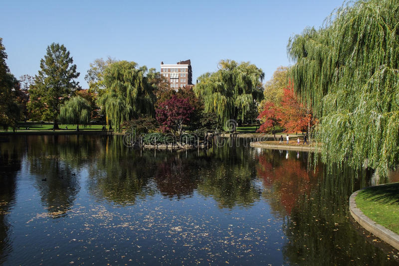 Boston Public Garden. View with Pond and colorful trees royalty free stock photography