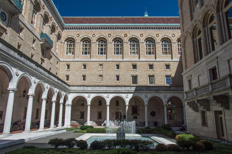 Boston Public Library. The Boston Public Library is the first publicly supported municipal library in US with collection of 8.9 million books royalty free stock photography