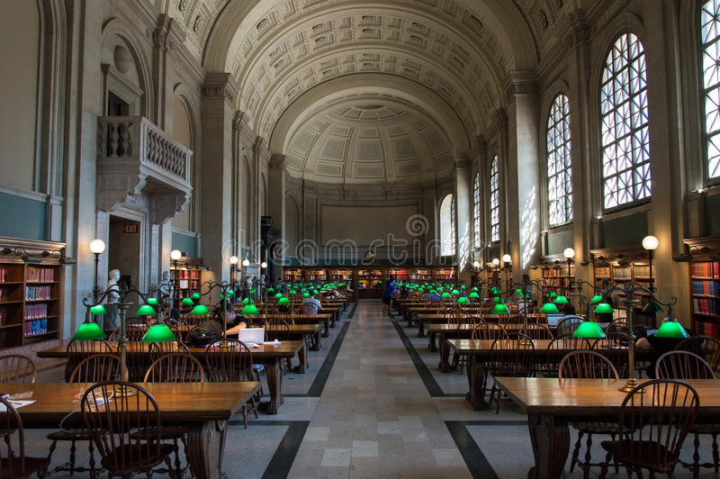 Boston Public Library. The Boston Public Library is the first publicly supported municipal library in US with collection of 8.9 million books stock photo