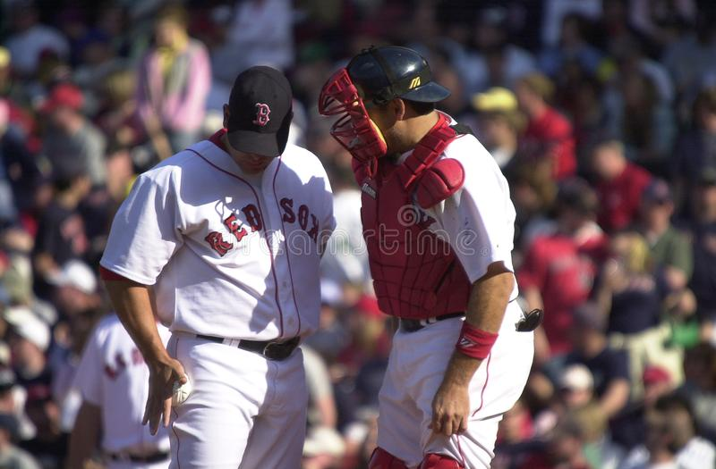 Keith Foulke and Doug Mirabelli. Boston Red Sox closer Keith Foulke and catcher Doug Mirabelli. Image taken from color slide royalty free stock photography