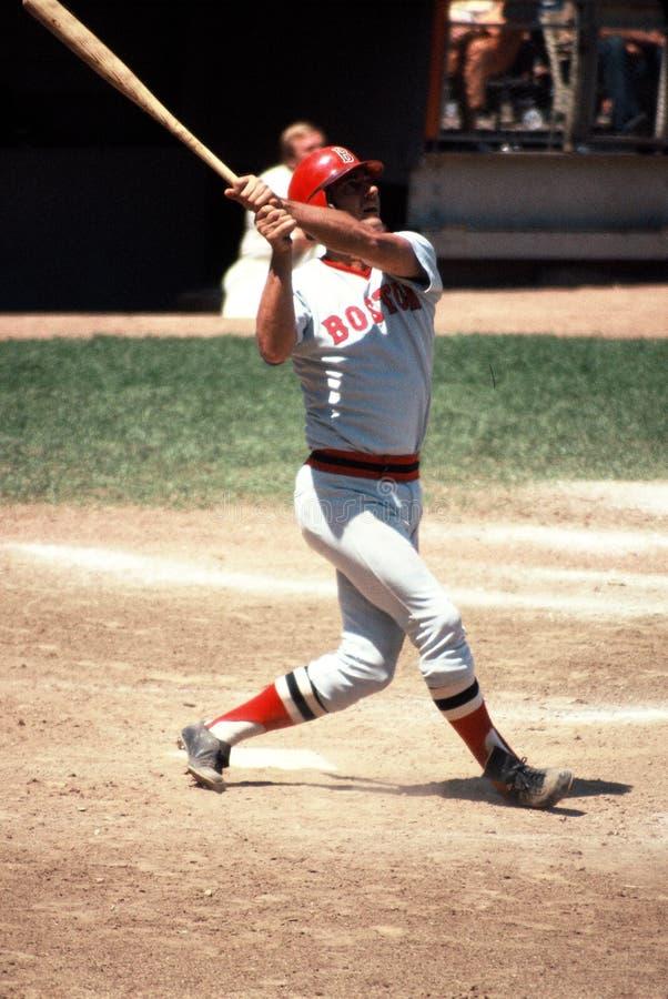 Boston Red Sox Hall of Famer Carl Yastzemski. Action shot of Red Sox former captain Carl Yastrzemski stock photography