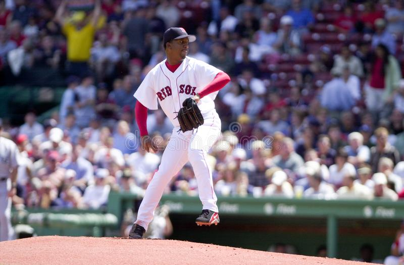 Boston Red Soxstartkanna Pedro Martinez arkivbild