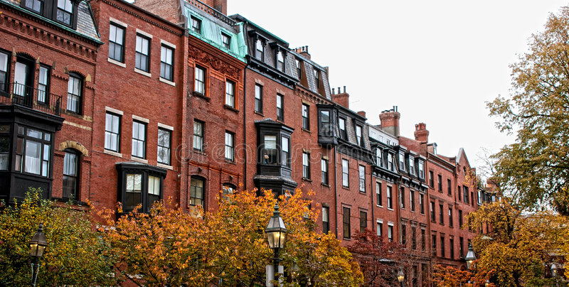 Boston row houses. Brick beacon hill boston rowhouses on a fall day in new england royalty free stock photography
