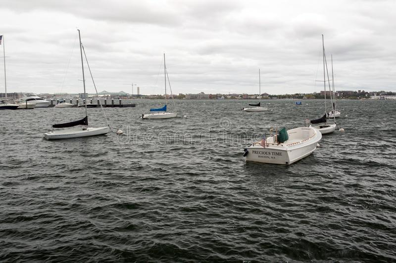 Boats in Boston stock images