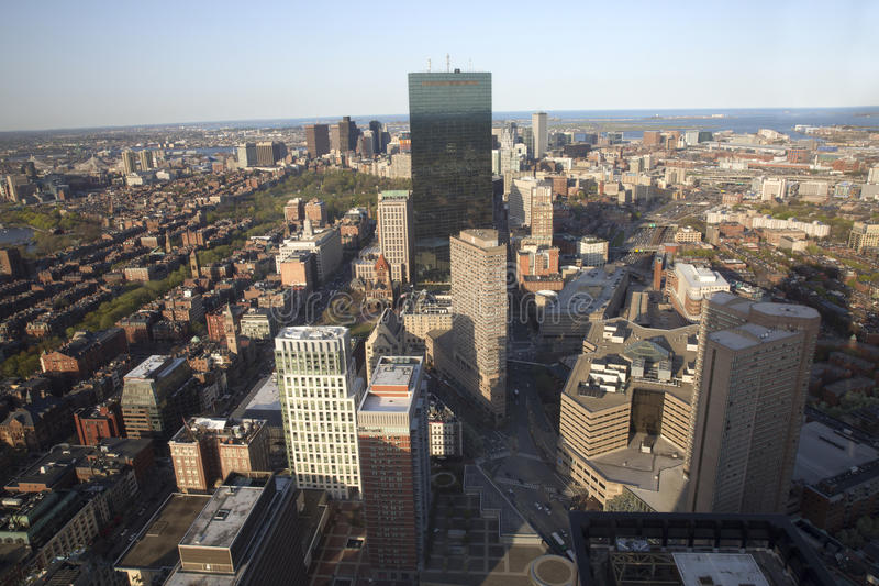 Boston's panoramic view as it is seen from Prudential tower royalty free stock photos
