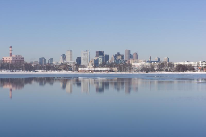 Boston`s Skyline from Pleasant Bay royalty free stock photography