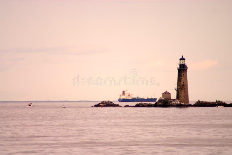 Boston schronienia latarnia morska jest starym latarnią morską w Nowa Anglia obrazy royalty free