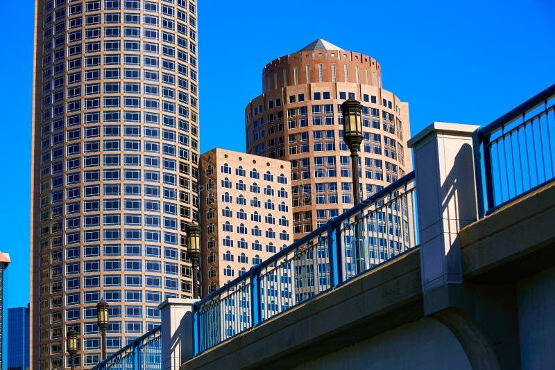 Boston Seaport boulevard bridge Massachusetts stock photos