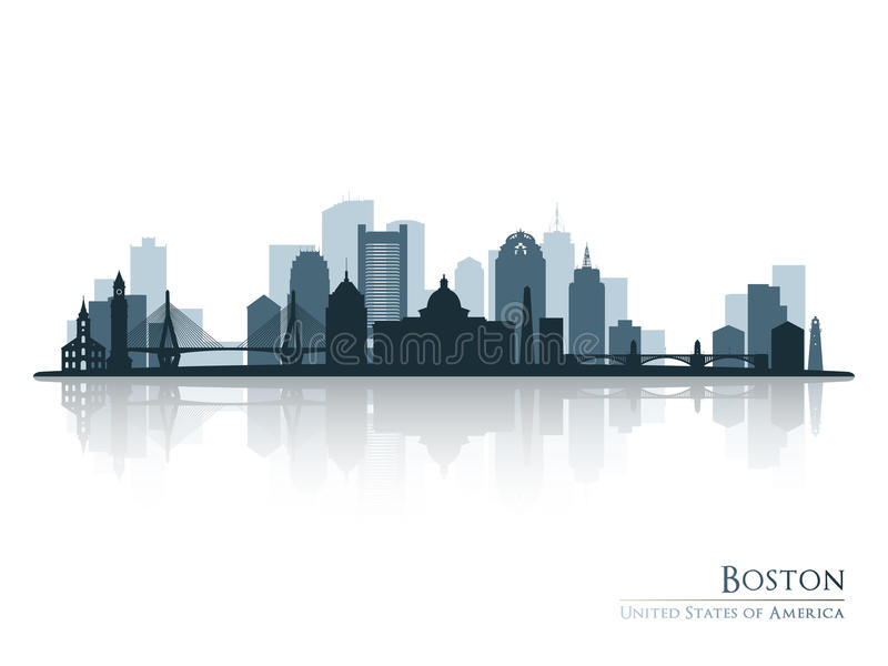 Boston, silhouette d'horizon avec la réflexion illustration libre de droits