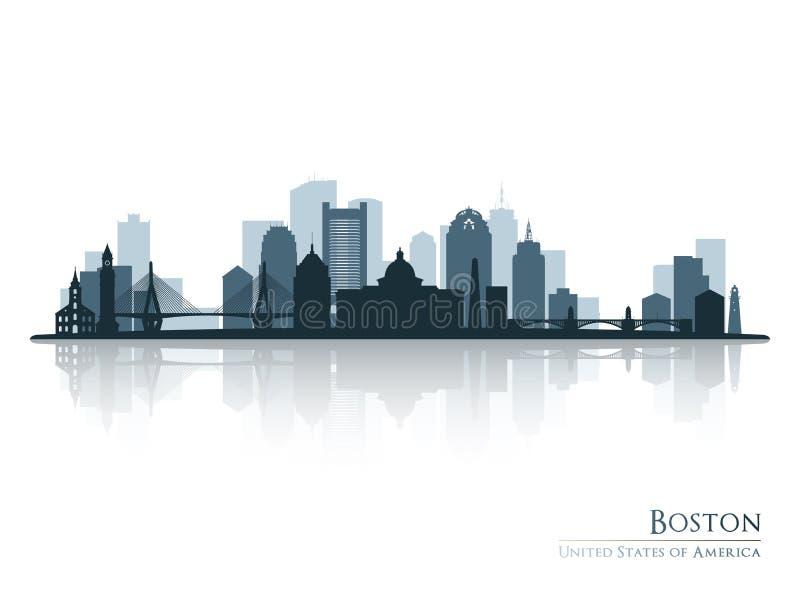 Boston, silueta del horizonte con la reflexión libre illustration