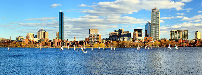 Boston Skyline. Skyline of Back Bay Boston, Massachusetts stock photo