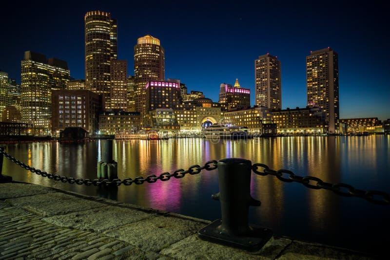 Boston skyline as seen from Fan Pier Park in Boston, MA. stock photos