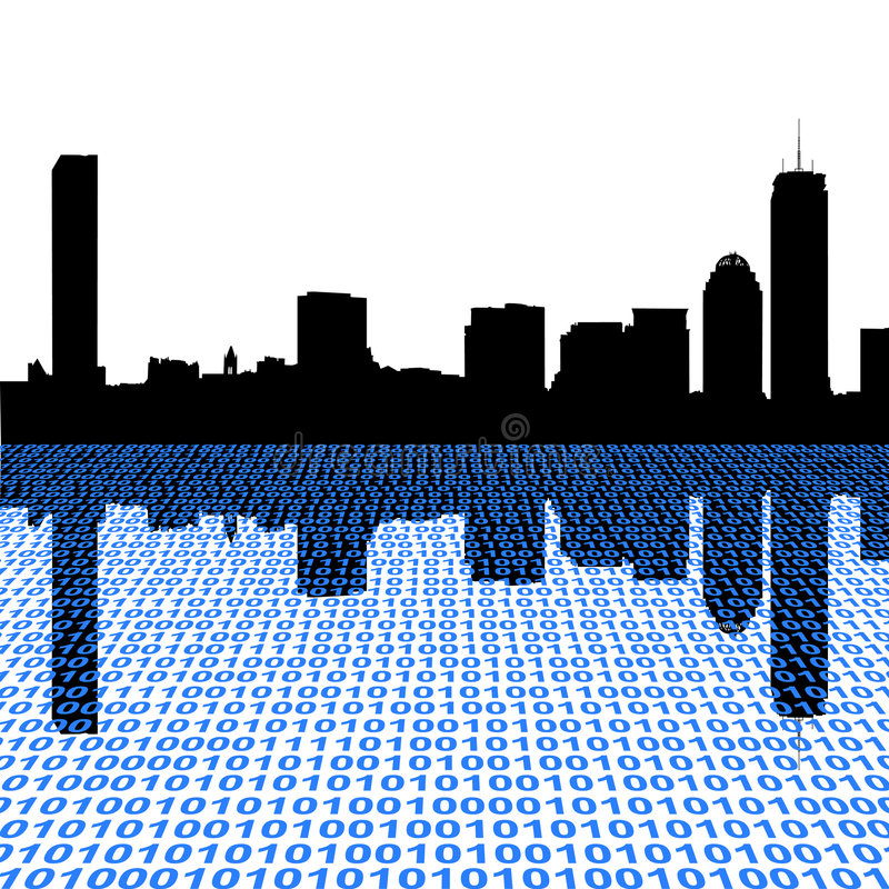 Boston Skyline With Binary Stock Image