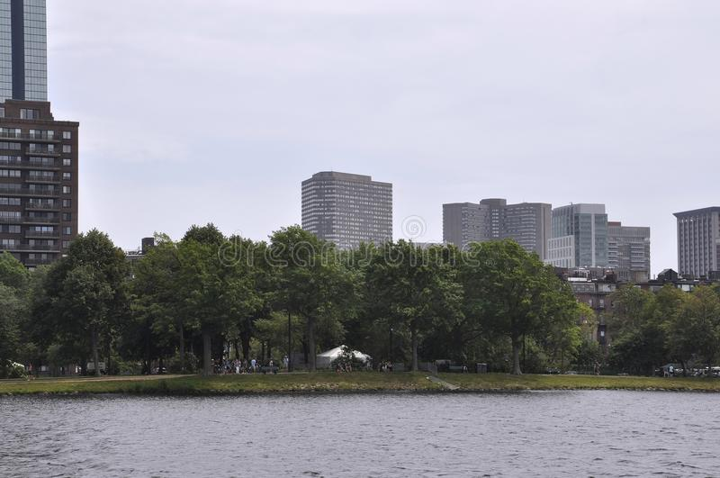 Boston Skyline from Charles river Cruise in Massachusettes State of USA stock image