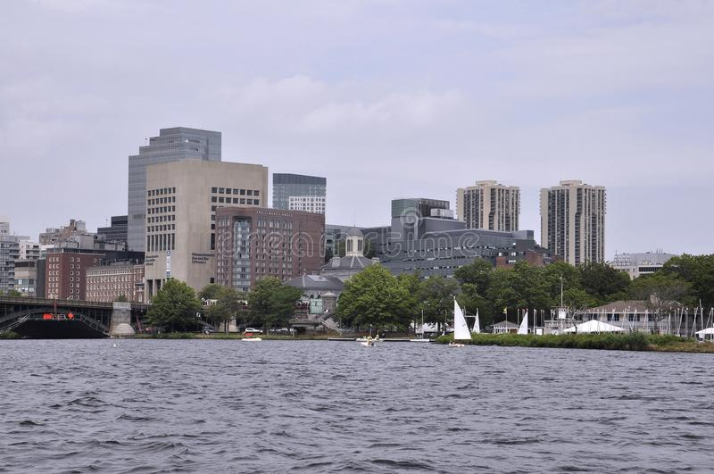 Boston Skyline from Charles River Cruise in Massachusettes State of USA stock images