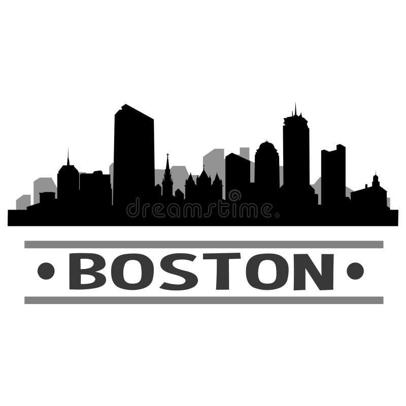 Boston Skyline City Icon Vector Art Design royalty free illustration